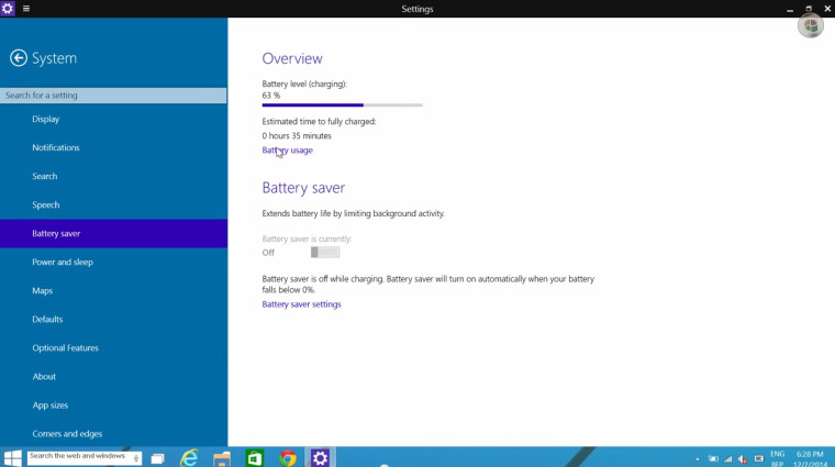 Windows 10 Build 9888 Battery Saver