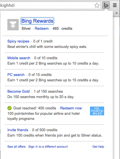 Bing Rewards Chrome Extension