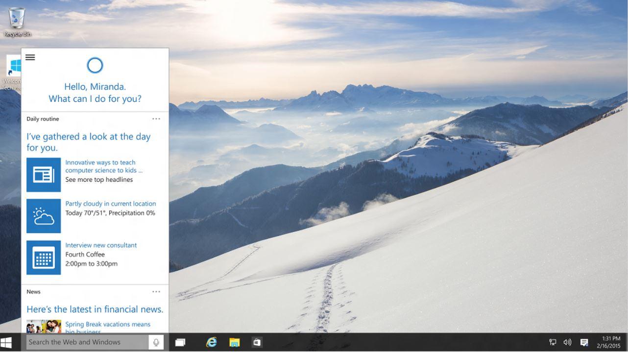 Cortana Windows 10