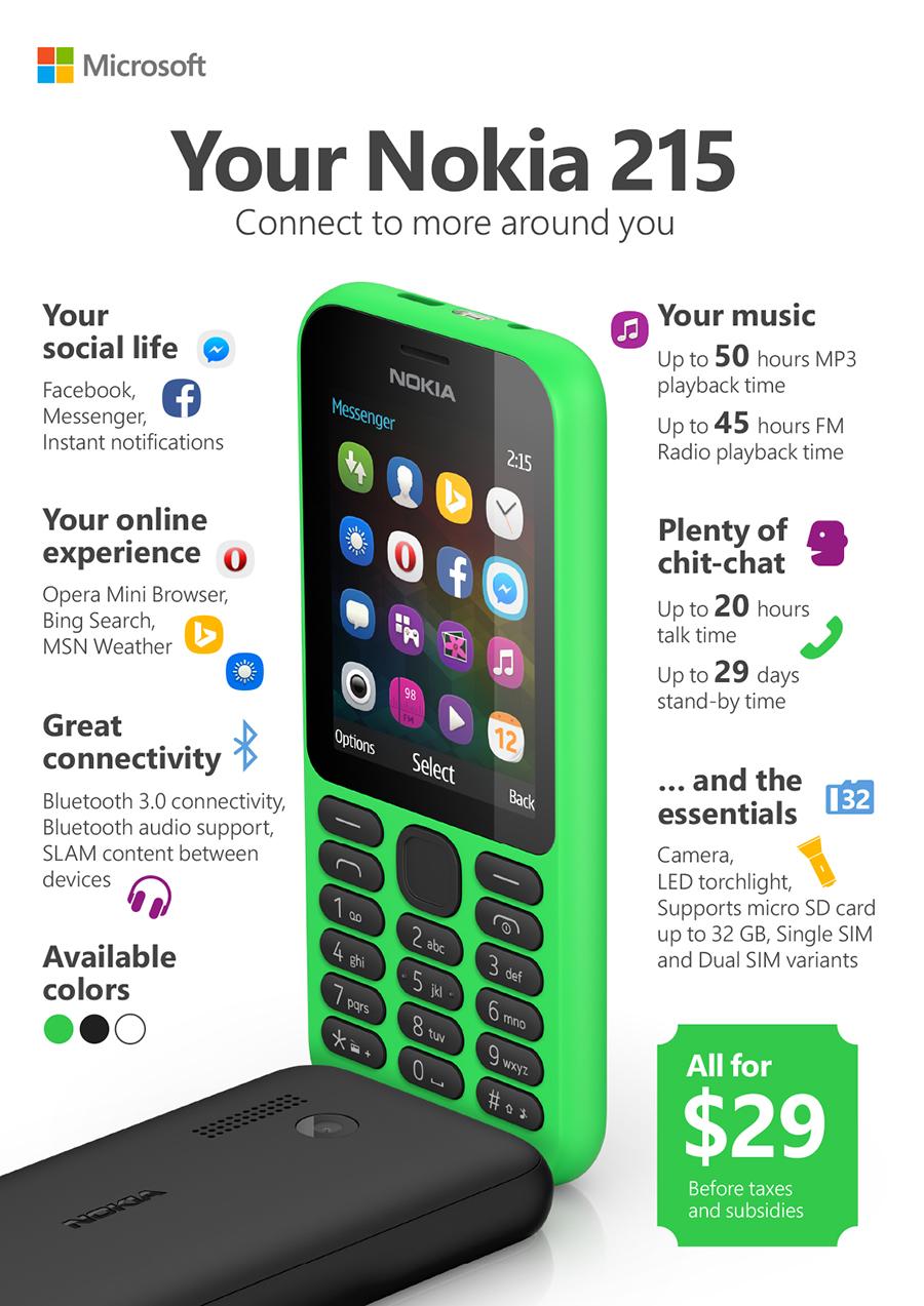 Nokia 215 infographic