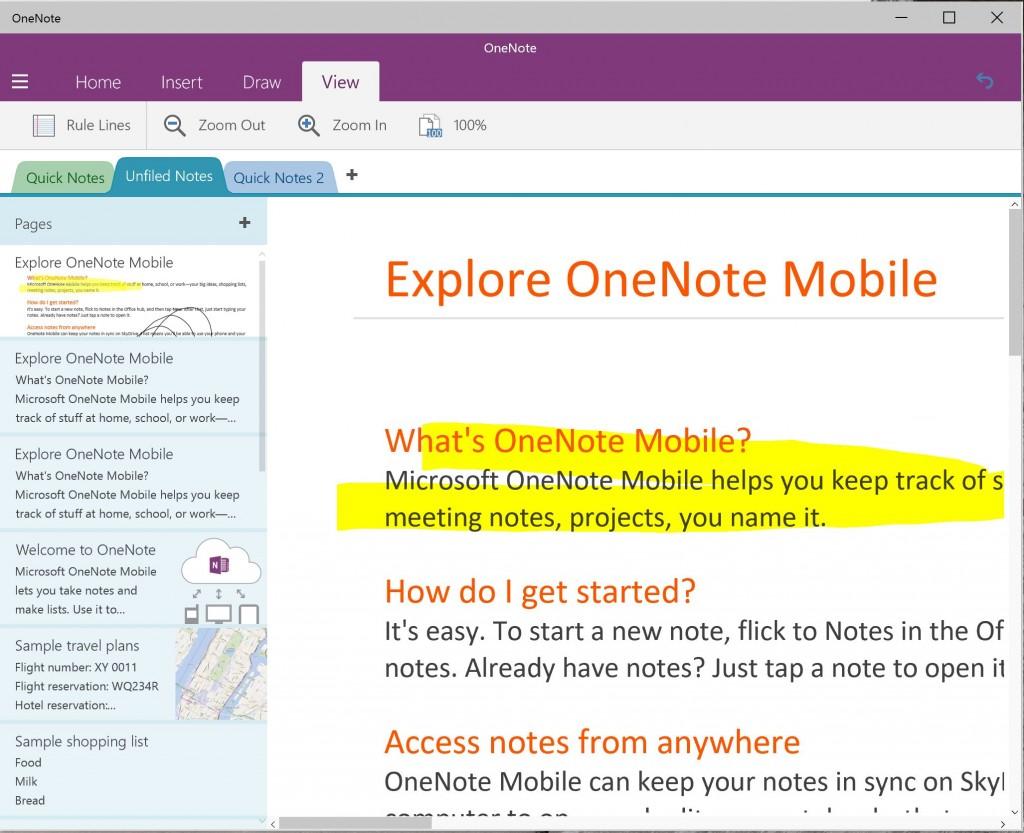 OneNote Preview Windows 10 Build 9926 3