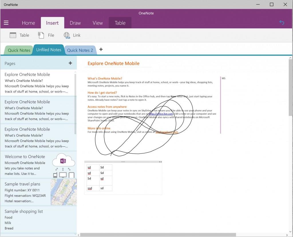 OneNote Preview Windows 10 Build 9926 4