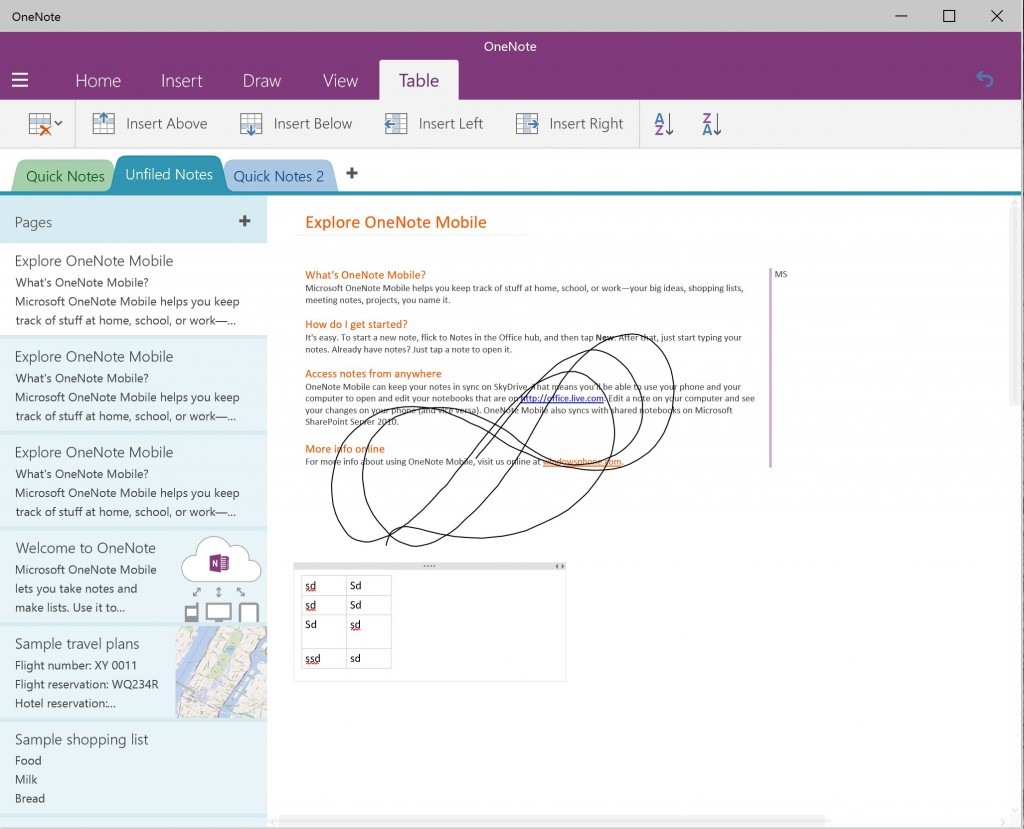 OneNote Preview Windows 10 Build 9926 5