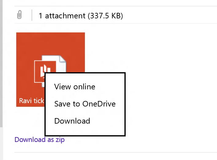 Outlook OneDrive Attachment