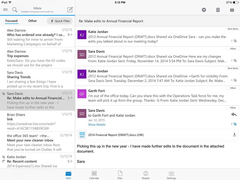 Outlook iPad App