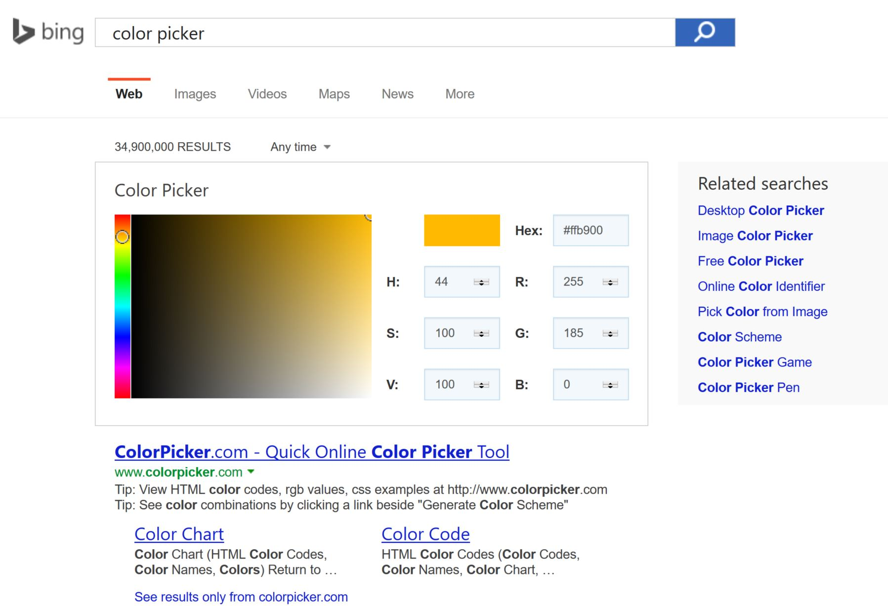 Microsoft Bing Now Offers Color Picker On Search Results Page ...