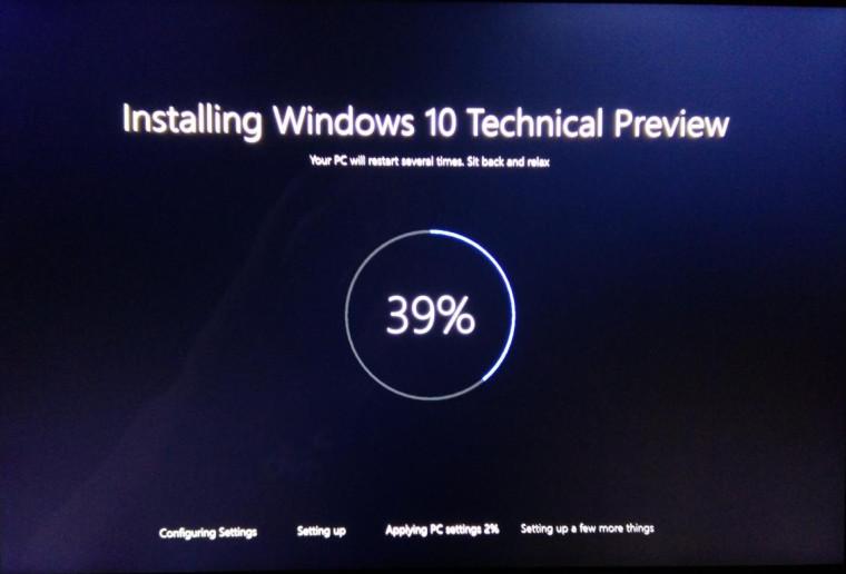 Windows 10 Installation Screen