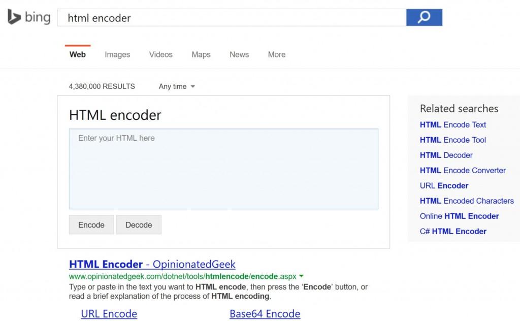 Bing HTML Encoder