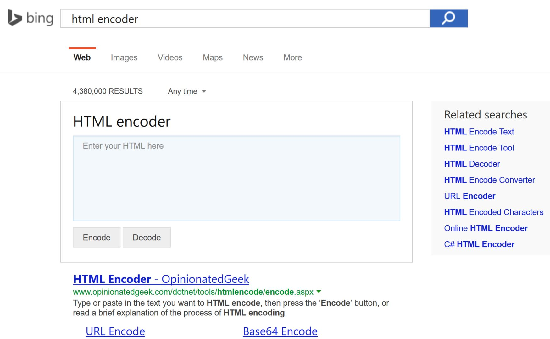 Microsoft Bing Now Offers HTML, URL And Base64 Encoders In ...