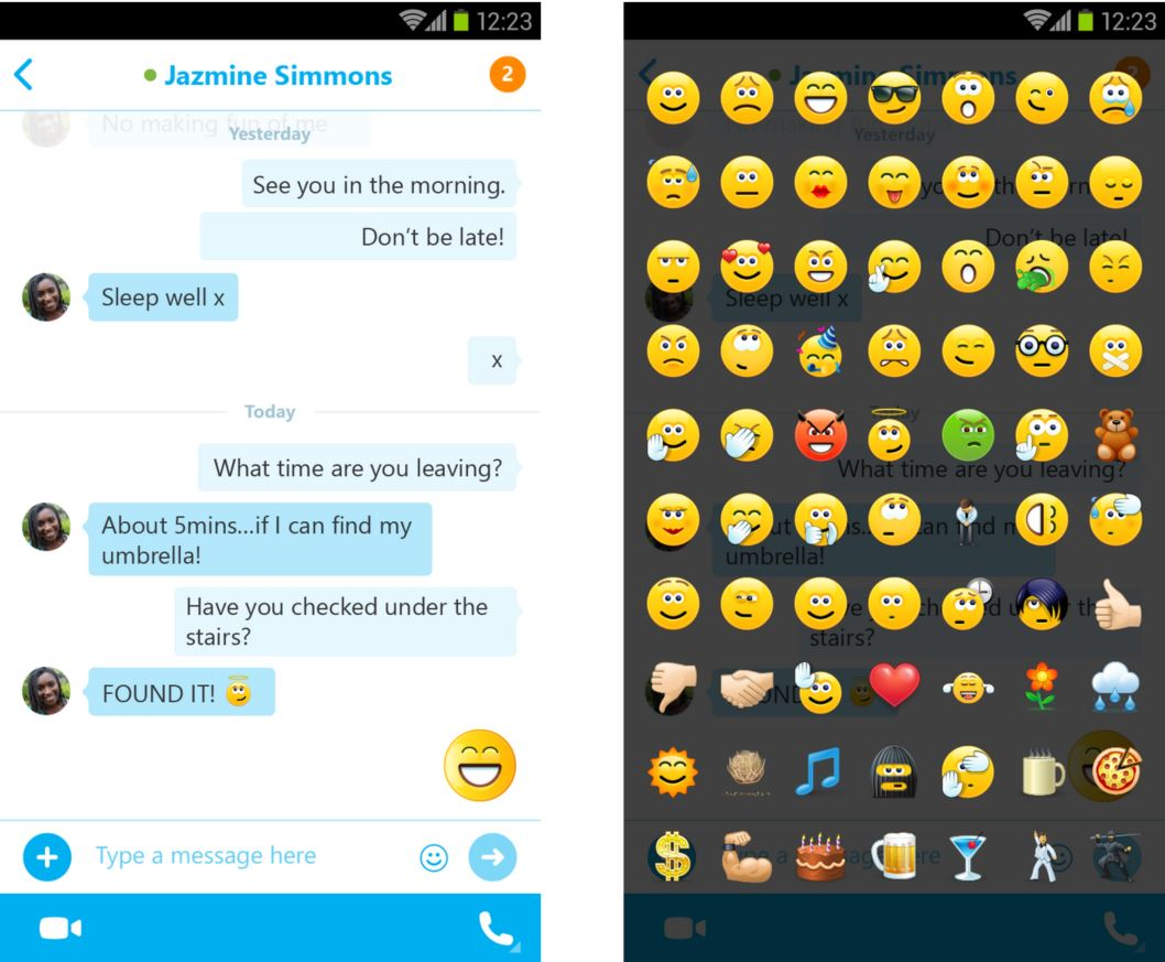 Phone Emoticons Android Phone skype for android receives a major update adds support emoji update