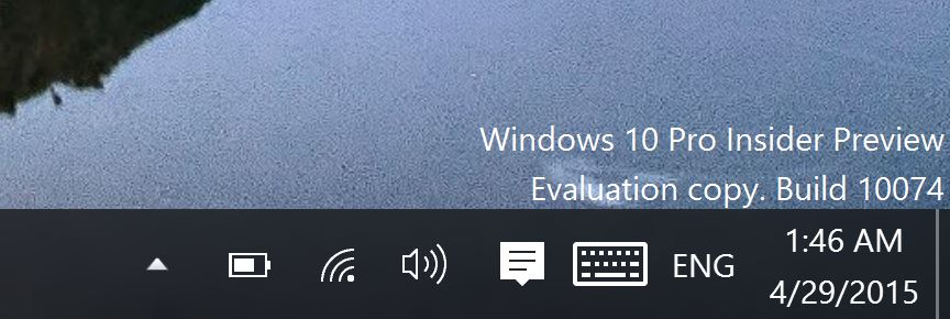 Windows 10 Build 10074 Wifi Icon