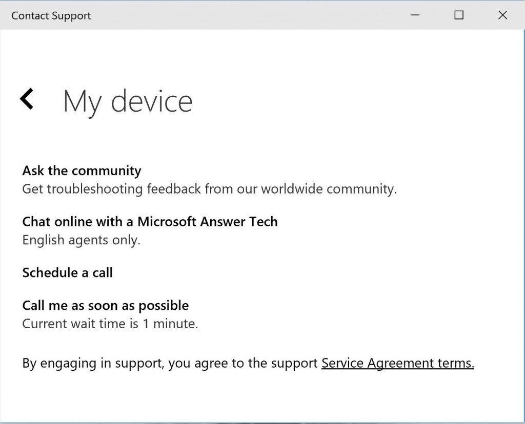 Windows 10 Contact Support 1