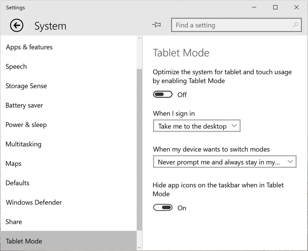 Windows 10 Tablet Mode Settings