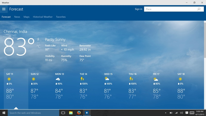 Windows 10 Build 10056 Includes New Weather App (Screenshots