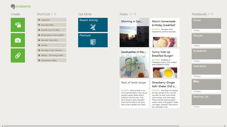 Evernote Touch Windows Store