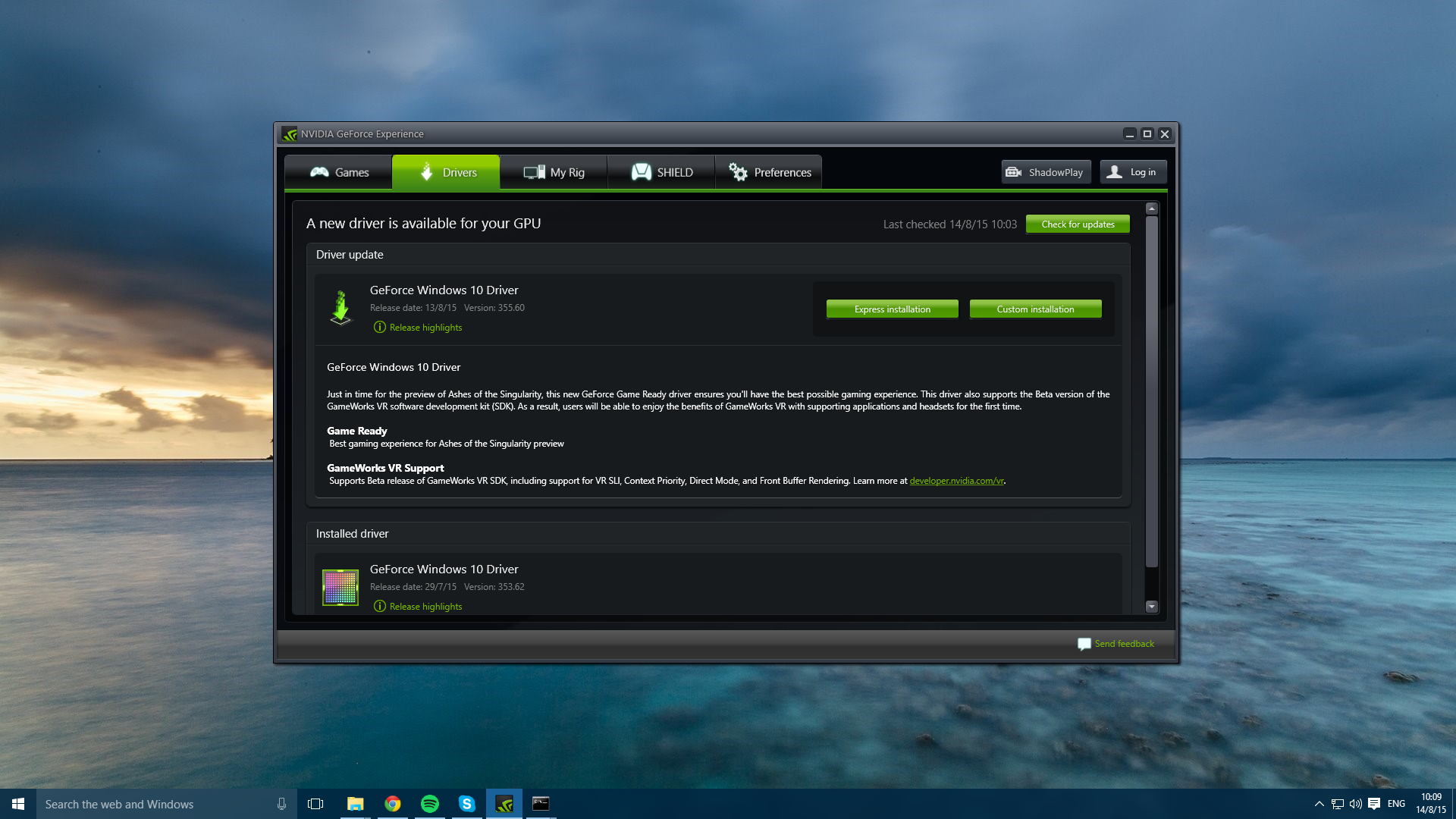 nvidia drivers update windows 10 64-bit