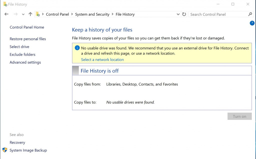 WIndows 10 Backup File History