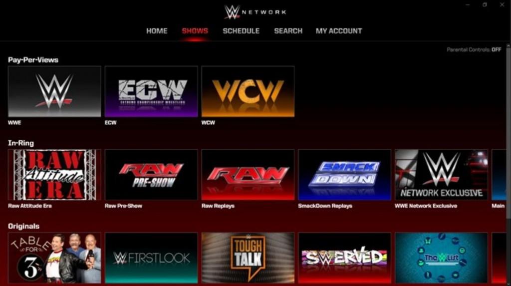WWE Network Windows 10 App