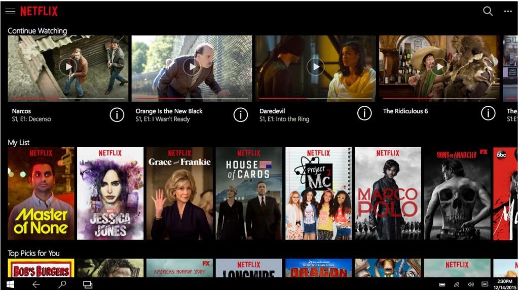 Netflix Windows 10 App