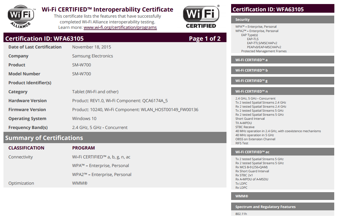 Samsungs 12 inch windows 10 tablet gets wi fi certification wifi 1betcityfo Choice Image