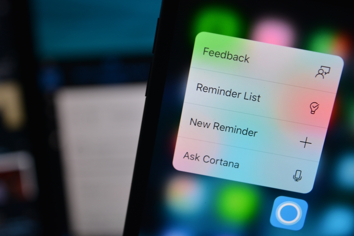 Cortana for iOS gets support for 3D Touch and a new widget with the
